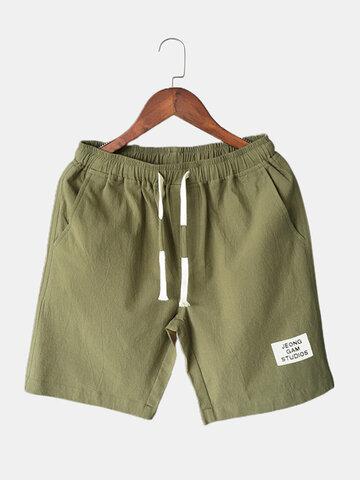 Drawstring Shorts Solid Color Pocket Shorts