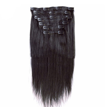 Straight 100% Human Virgin Hair Clip Extensions Natural Color 8-26 Inch