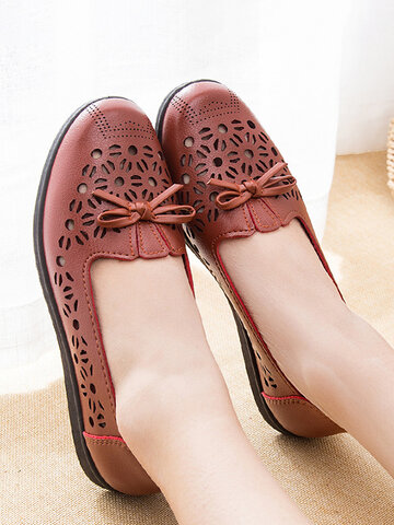 Bow Hollow Out Slip On Flats