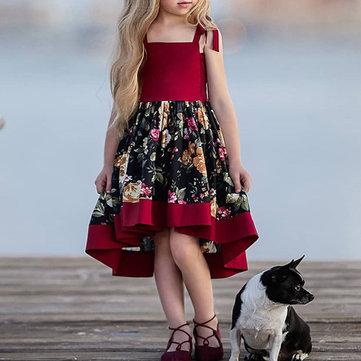 Vestido da correia da menina de flor para 1-7 anos