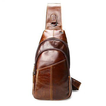 Ekphero Men Vintage Genuine Leather Crossbody Bag Chest Bag
