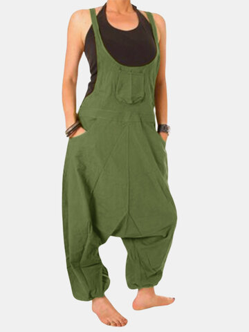 Einfarbig Drop Crotch Jumpsuit