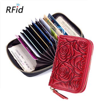 RFID Women Genuine Leather Short Wallet 9 Card Slot