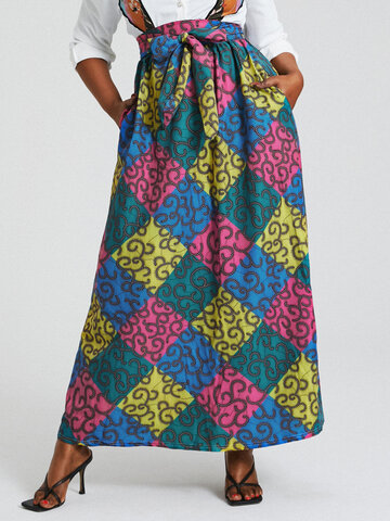 African Ethnic Print Knotted Skirt
