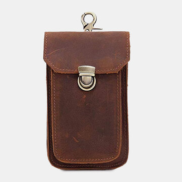 EDC Genuine Leather 6.3 Inch Retro Short Cell Phone Case Belt Bag