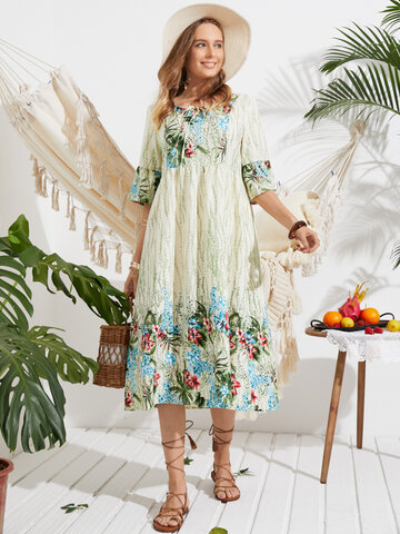 Flowers Print Knotted Holiday Dress