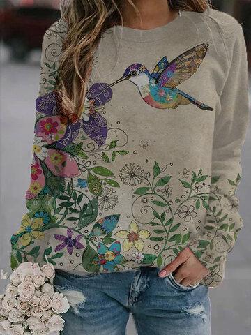 Cartoon Paint Pattern Printed Sweatshirt
