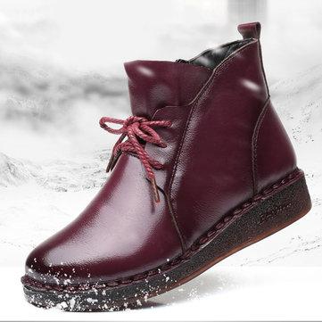 Handmade Warm Lining Leather Zipper Boots