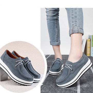 Cow Leather Suede Flat Boat Shoes