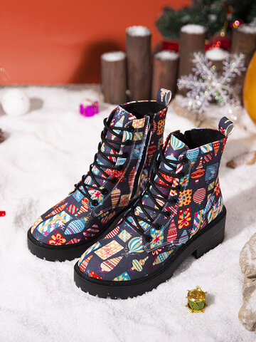 SOCOFY Christmas Gift Pattern Canvas Tooling Boots Lace Up Short Boots