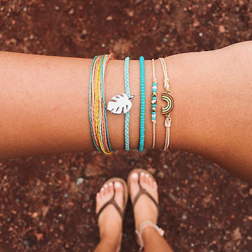 Rainbow Leather Bracelet Set