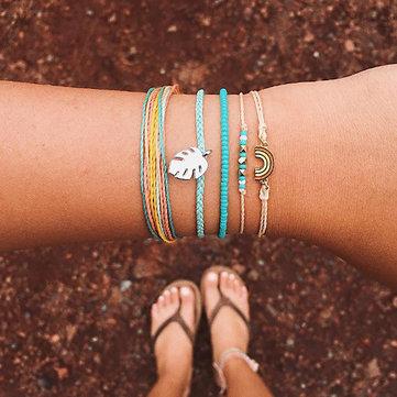 Conjunto de pulseira de couro de arco-íris