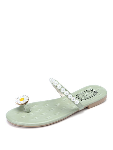 Daisy Toe Ring Faux Pearl Strap Sliders Slippers