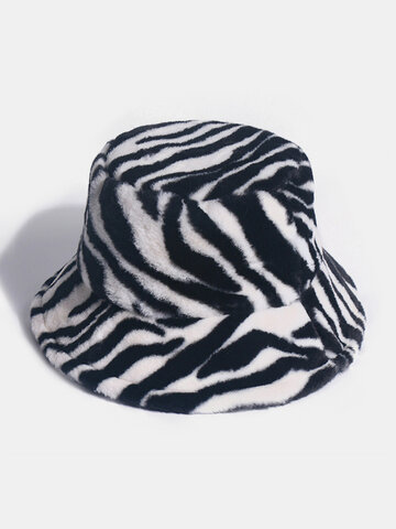 Women & Men Felt Zebra Pattern Velvet Windproof Soft Bucket Hat