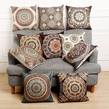 Vintage Flower Cotton Linen Throw Pillow Case Cushion Cover