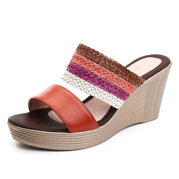 Weaven Platform Peep Toe Slippers
