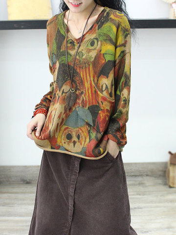 Owl Print Pullover Sweater