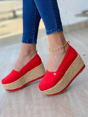 Platform Espadrilles Canvas Shoes
