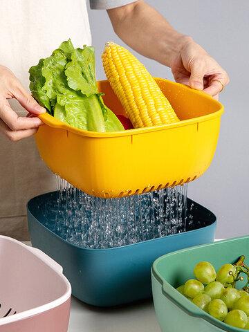 سلة استنزاف منزلية ذات طبقات مزدوجة ، سلة استنزاف للفاكهة والخضروات