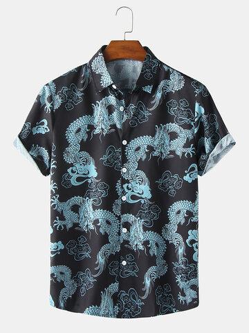 Todas as camisas estampadas orientais Dragão