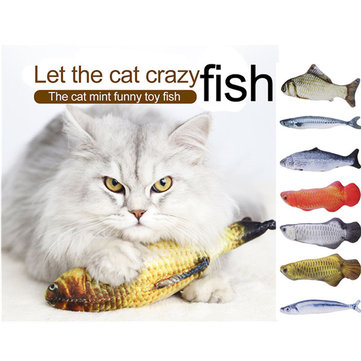Pet Cat Fish Forma Plush Toys com Catnip