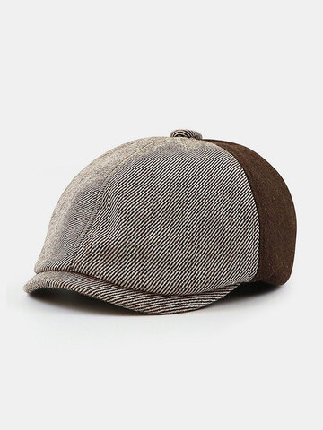 Stitching British Retro Artist Temperament Short Brim Peak Top Hat Beret Flat Caps