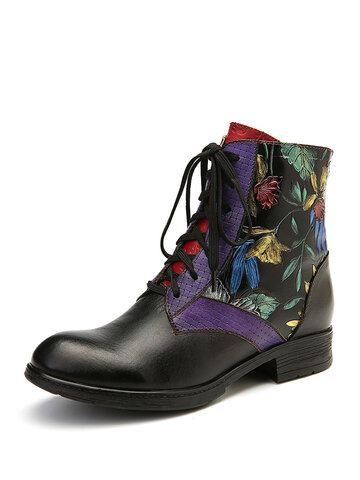 Oil Painting Flower Flat Boots