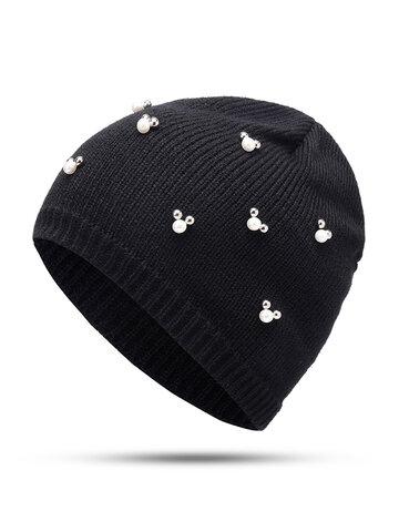 Wool Knit Pearl Beanie