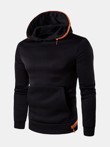 Mens Fashion Hoodies Black White Solid Color Front Pocket Casual Sport Hooded Tops