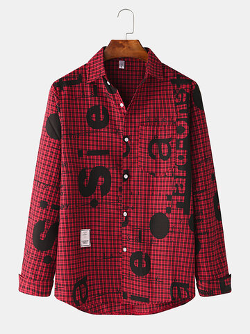 Plaid Character Print Chest Pocket Shirts