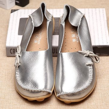 Big Size Shine Lace Up Flat Soft Pure Color Leather Shoes, Gold silver