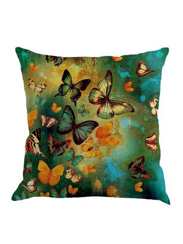 Butterflies Cotton Linen Cushion Cover