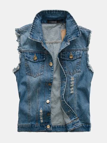 Bolsos no peito Slim Denim Vest