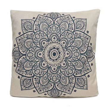 44x44cm Euro Style Flower Printing Cotton Linen Pillow Case Cushion Cover Sofa Car Home Decor, White