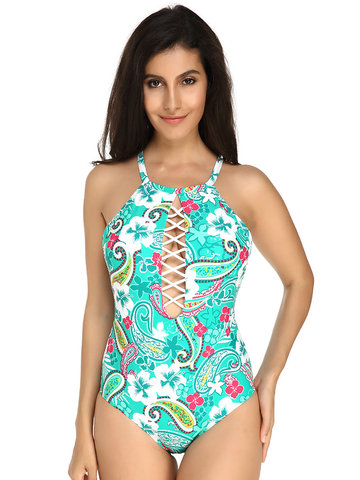 Plus Size Impresso Backless Monokini