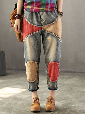 Contrast Color Patchwork Denim, Blue