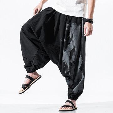 National Style Cotton Linen Baggy Harem Pants