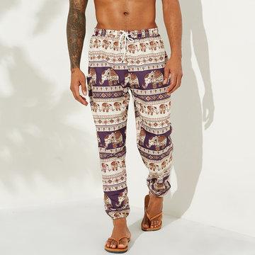 Pantalon à cordon imprimé de style national pour hommes