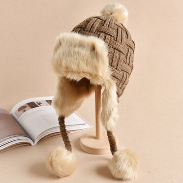 Women Windproof Warm Knitted Hats With Pompom