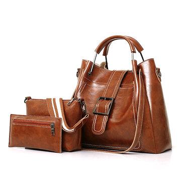 Damen Kunstleder dreiteiliges Set Handtasche Schultertasche