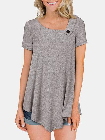 Camiseta de manga curta de cor sólida