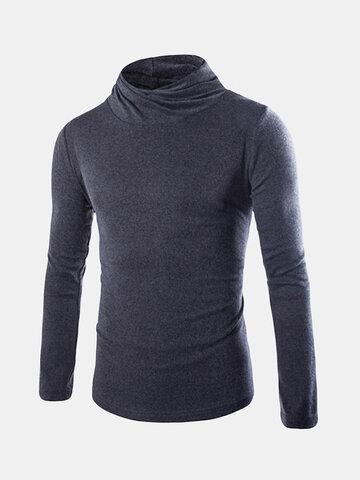 Hombre Otoño Invierno Jersey Color sólido Cuello alto elástico Soft Delgado Suéter de punto ajustado