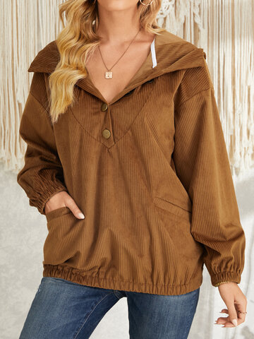 Solid Corduroy Button Casual Hoodie