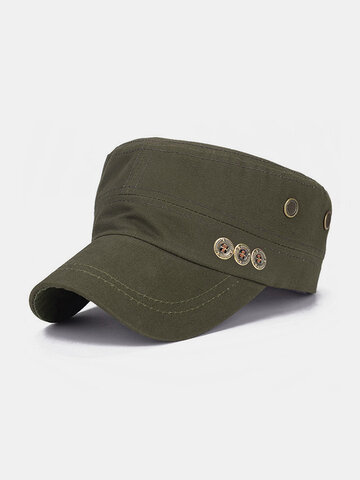 Men Solid Color Keep Warm Outdoor Flat Hat Military Hat