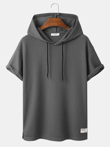 Knit Solid Hooded T-Shirts