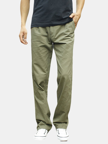Mens Spring Fall Cotton Cargo Pants Regular Fit Solid Color Cotton Casual Business Trouser