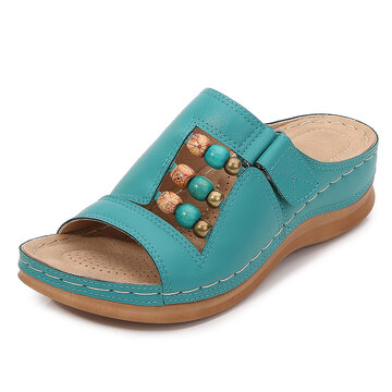 LOSTISY Women Beaded Adjustable Hook Loop Wedges Sandals
