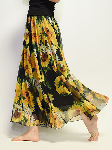 Donna Maxi-Gonna in Chiffon Floreale