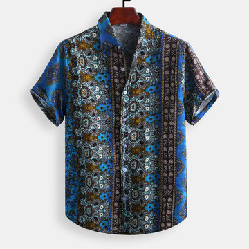 Printed Patchwork National Style Loose Shirt