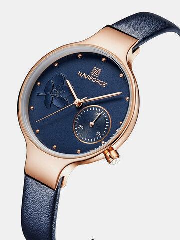 Elegant Leather Strap Quartz Watch